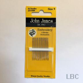 Набор игл для вышивки гладью №9 (16 шт) John James JJ13509