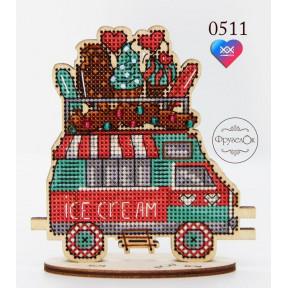 """Набор для вышивки крестом на деревянной основе ФрузелОк """"Фургон с мороженым"""" 0511"""