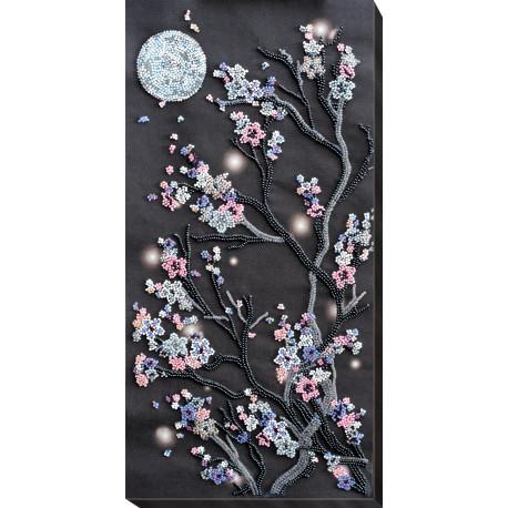Набор для вышивки бисером  на холсте Абрис Арт «Ночная сакура» АВ-762