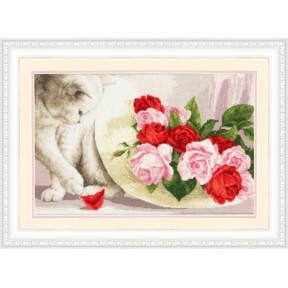 Набор для вышивки Золотое Руно Кот и розы З-054 фото