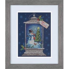"""Набор для вышивания крестом """"Snowman Lantern//Фонарь со снеговиком"""" DIMENSIONS 70-08987"""