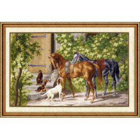 Набор для вышивки Золотое Руно Лошади у крыльца 00-004 фото