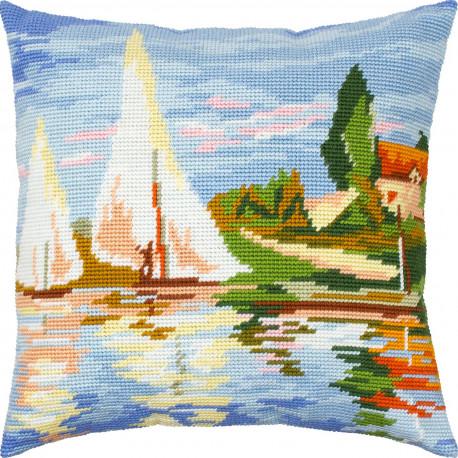 Набор для вышивки подушки Чарівниця Пейзаж «Регата в Аржантёе»