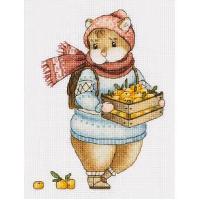 Набор для вышивки крестом Panna Хомяк с мандаринами Ж-7137 фото