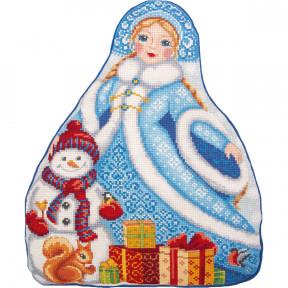 Набор для вышивки крестом Panna Подушка. Снегурочка ПД-7203 фото