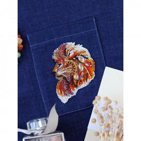 Брошь Паттернхолст Огнегривый лев Абрис Арт Набор для вышивки бисером AD-113