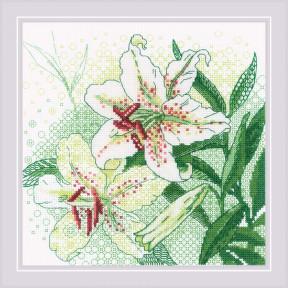 Белые лилии Риолис Набор для вышивания крестом 1915