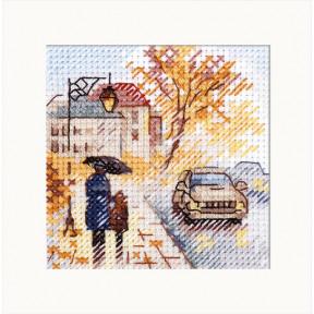 """Набор для вышивки крестом Алиса """"Осень в городе. Мокрый бульвар"""" 0-218"""