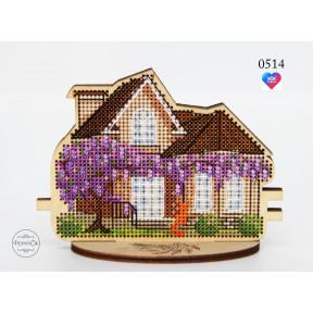 """Набор для вышивки крестом на деревянной основе ФрузелОк  """"Весенний дом""""0514"""