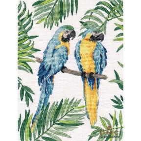 Сине-желтые ара Овен Набор для вышивки крестом 1348о