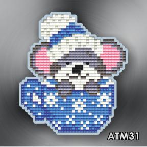 Мышонок в синей чашке ArtSolo Набор алмазной живописи. Магнит АТМ31