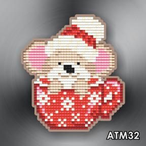 Мышонок в красной чашке ArtSolo Набор алмазной живописи. Магнит АТМ32