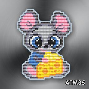 Мышонок с сыром ArtSolo Набор алмазной живописи. Магнит АТМ35