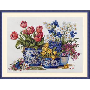 Весенний сад в синем Мережка Набор для вышивания крестом K-195