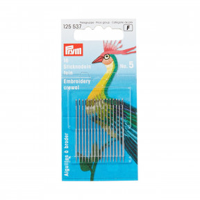 Тонкие иглы для вышивки № 5 (серебристого цвета) Prym 125537