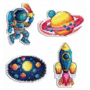 Космос. Магниты Набор для вышивки крестом МП Студия Р-576