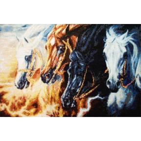 Набор для вышивания Kustom Krafts SLO-003 Четыре коня