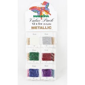9704 Metallic №40 12 карточек х 5 м блестящие нитки для вышивания (Value Packs)