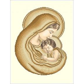 Набор Для Вышивания Бисером БС Солес Мария с Иисусом (сепия-ЗОЛОТО) МІ-с-з