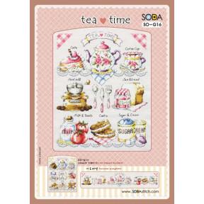 Время чая Набор для вышивания крестом (Linen 32) SODA Stitch SO-G16L