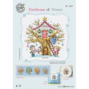 Зимний домик на дереве Набор для вышивания крестом (Linen 32) SODA Stitch SO-3237L