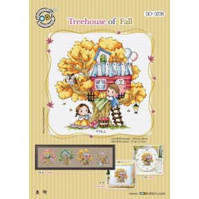 Осенний домик на дереве Набор для вышивания крестом (Linen 32) SODA Stitch SO-3236L