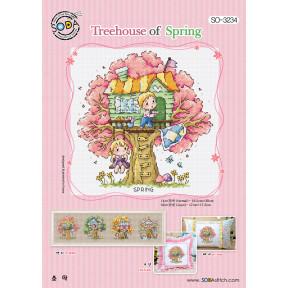 Весенний домик на дереве Набор для вышивания крестом (AIDA 14) SODA Stitch SO-3234A