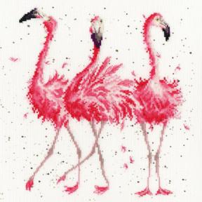 Розовые фламинго Bothy Threads Набор для вышивания крестом XHD24