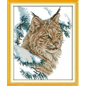 Дикий кот Набор для вышивания крестом с печатью на ткани NKF D 539