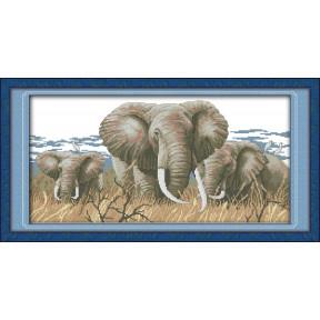 Величественные слоны Набор для вышивания крестом с печатью на ткани NKF D 158