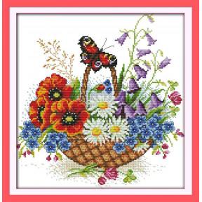 Букет и бабочка Набор для вышивания крестом с печатью на ткани NKF H 393