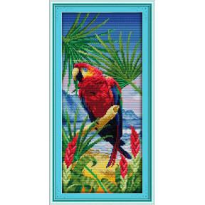 Большой попугай Набор для вышивания крестом с печатью на ткани NKF D 410