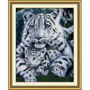 Белый тигр с тигренком Набор для вышивания крестом с печатью на ткани NKF D 171