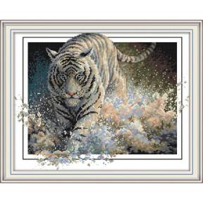 Белый тигр Набор для вышивания крестом с печатью на ткани NKF DA259