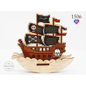 """Набор для вышивки крестом на деревянной основе ФрузелОк """"пиратский корабль"""" 1506"""
