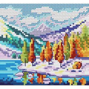 Осень в горах Набор для вышивки крестом МП Студия М-613