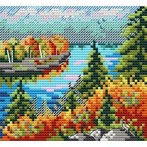 Осенний лес Набор для вышивки крестом МП Студия М-615