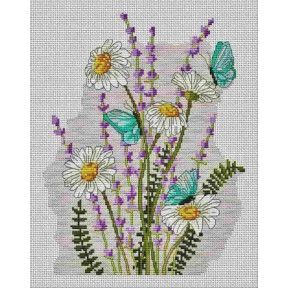 """Набор для вышивки  крестом Dantel 144 """"Ромашки,лаванда и бабочки"""""""
