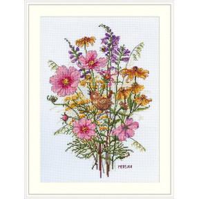 Сентябрьские цветы и крапивник Мережка Набор для вышивания крестом К-197
