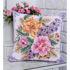 Распустились цветы (Подушка) Набор для вышивки крестом Panna ПД-1694