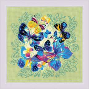 """Панно/подушка """"Яркие бабочки"""" Набор для вышивания крестом Риолис 1958"""