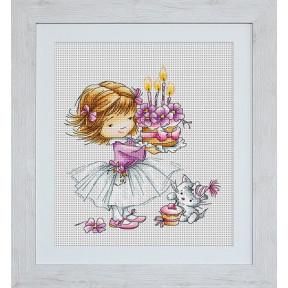 Набор для вышивки Luca-S Девочка с котенком и тортиком B1054